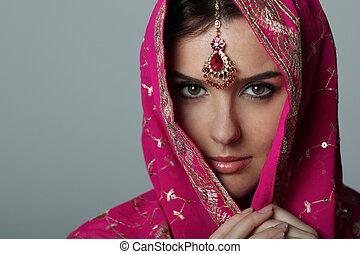 nő, fiatal, sari, gyönyörű