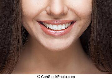 nő, fogászati, whitening., fog, care., smile.