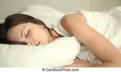 nő, fordítás, neki, feldobás, fiatal, alszik