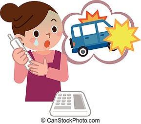 nő, forgalom, érintkezés, meglepődött, baleset