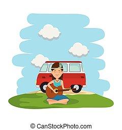 nő, furgon, gitár, mező, hippi, játék