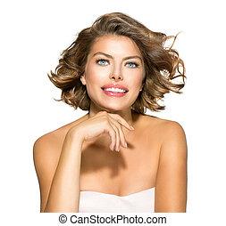 nő, göndör, szépség, felett, fiatal, haj, rövid, white., portré