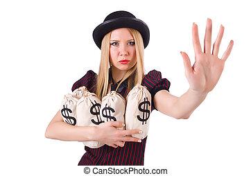 nő, gengszter, noha, pisztoly, és, pénz