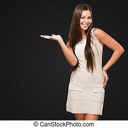nő, gesztus, boldog
