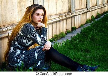 nő, gondolkodó, ülés, magány, -, bús, egyedül