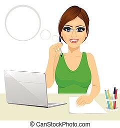 nő, gondolkodó, hivatal, laptop, dolgozó, titkár