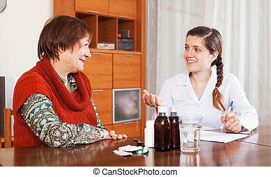 nő, gyógyszer, prescribing, megfontolt doktor