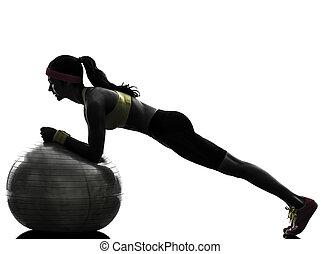 nő, gyakorlás, állóképesség, tréning, palánk, helyzet, árnykép