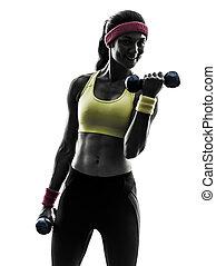 nő, gyakorlás, állóképesség, tréning, súlyozott kíséret, árnykép