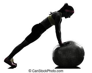 nő, gyakorlás, állóképesség, tréning, tol, felemel, árnykép