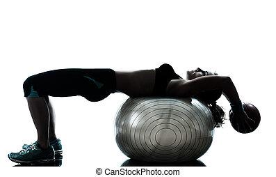 nő, gyakorlás, alkalmasság labda, tréning