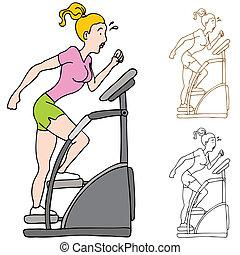 nő, gyakorlás, képben látható, stairclimber, gép
