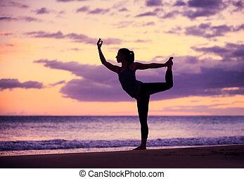 nő, gyakorló, jóga