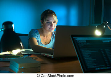 nő, hálózat, társadalmi, írás, késő, számítógép, éjszaka