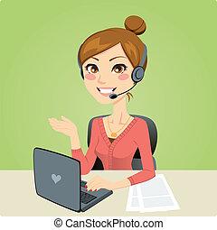 nő, hívás összpontosít