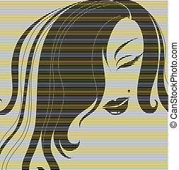 nő, haj, dekoratív, portré, hosszú