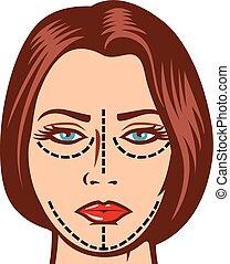 nő, hajlandó, helyett, kozmetikai operáció