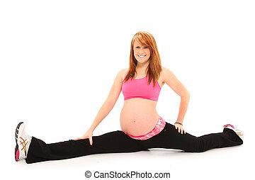 nő, hasít, egészséges, terhes