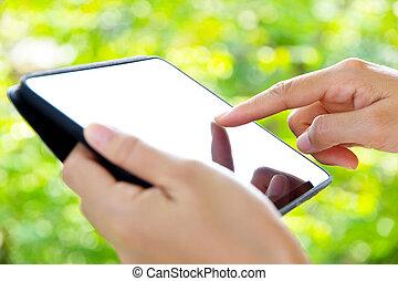 nő, használ, digital tabletta