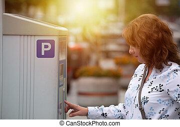 nő, használ, parkolóóra