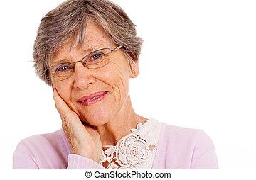 nő, headshot, öregedő