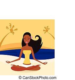 nő, helyzet, lótusz, jóga