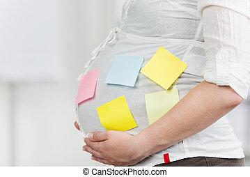 nő, hivatal, terhes, hangjegy, megragadt, has, post-it