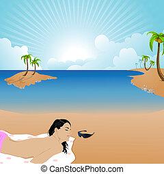 nő, homály, birtoklás, bitófák, sunbath, tengerpart, kókuszdió
