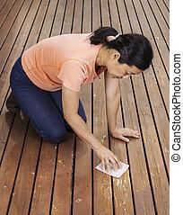 nő, homokszórás, fedélzet, matue, kéz