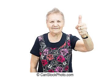 nő, idős, boldog