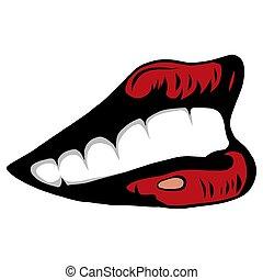 nő, illustration., ajkak, dél, vektor, száj, szexi, nyílik, tongue., piros