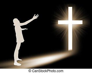 nő, imádás, fordíts, isten