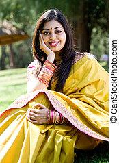 nő, indiai, boldog