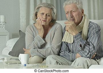 nő, influenza, öregedő bábu