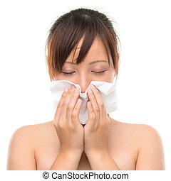 nő, influenza, tüsszentés, -, fújás, beteg, nose., hideg,...