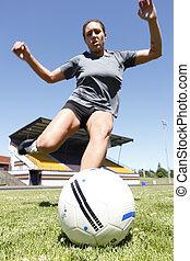 nő, játék futball