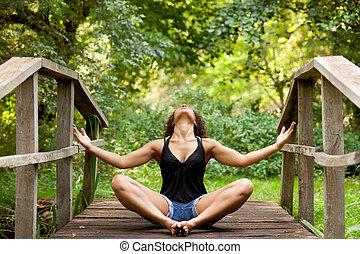 nő, jóga, alatt, természet