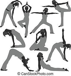nő, jóga, gyakorlás, beállít, egészséges
