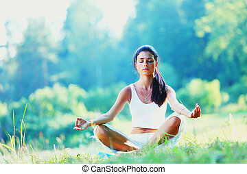 nő, jóga, liget, fiatal, zöld, gyakorlás