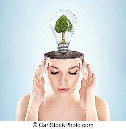 nő, jelkép, zöld, hajlamos, nyílik, energia