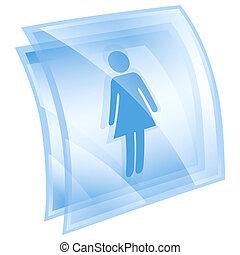nő, kék, elszigetelt, háttér, fehér, ikon
