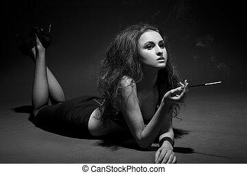 nő, kép, vadászik., bekormoz, bw, műterem, dark.