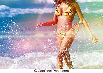 nő, képben látható, tengerpart, alatt, nyár szünidő