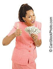 nő, készpénz, birtok, african-american