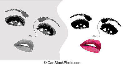 nő, két, ábra, arc, vektor, eyes.