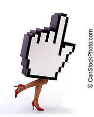 nő, kéz, kurzor, e-commerce, futás, combok