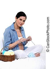 nő, kötés, terhes
