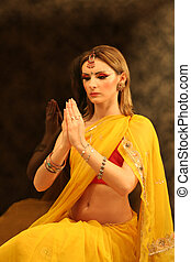 nő, közül, india