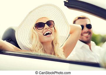 nő, kabrió, vezetés, autó, boldog, ember