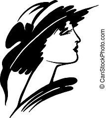 nő, kalap